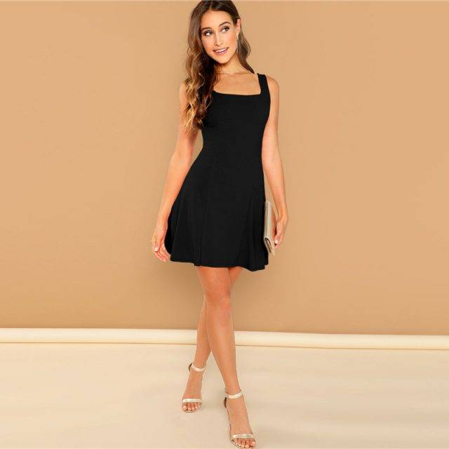 Black Fit And Flare Mini Dress Boho Dresses Boho mini dresses