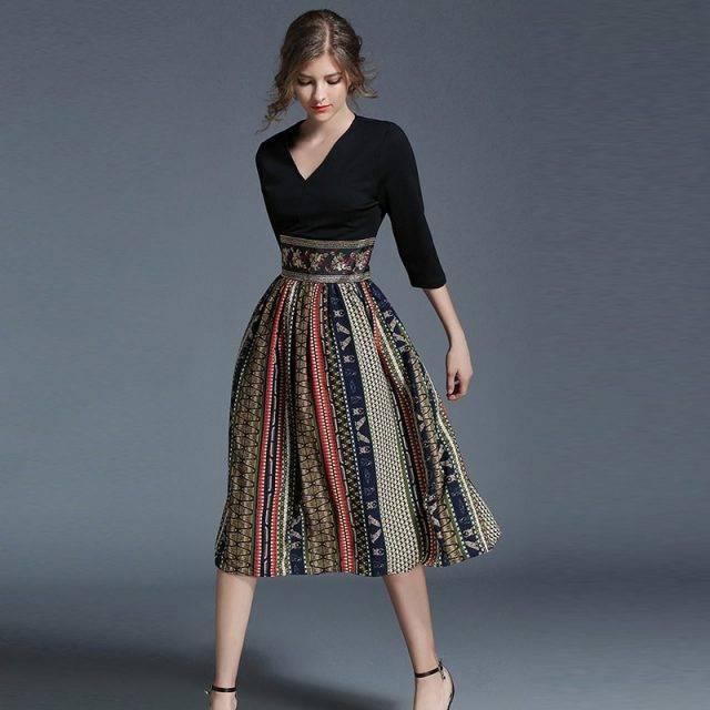 Women's Exquisite Patchwork Print Chiffon Dress Boho Dresses Midi Dresses