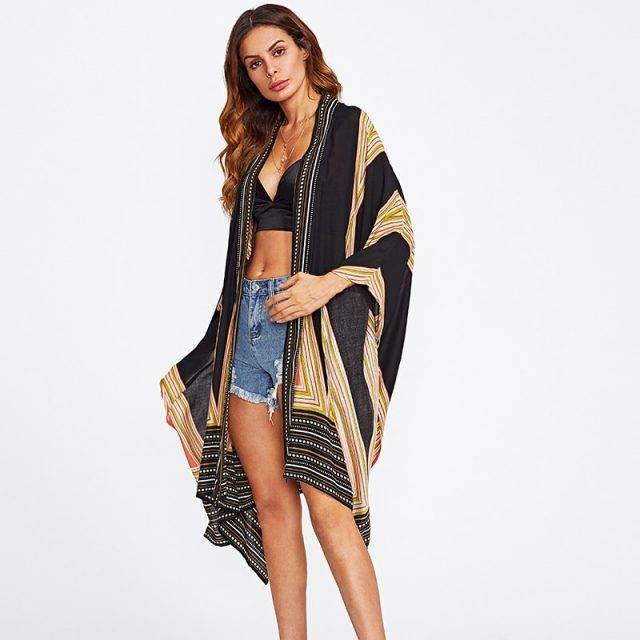 Women's African Style Printed Loose Summer Cardigan
