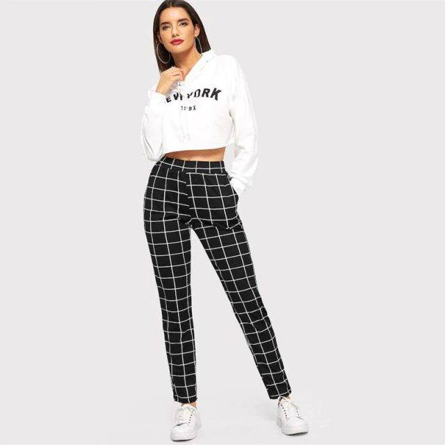 Women's Elegant Square Printed Skinny Pants