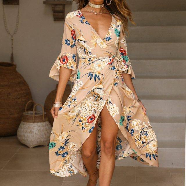 Women's Vintage Floral Printed Maxi Dress