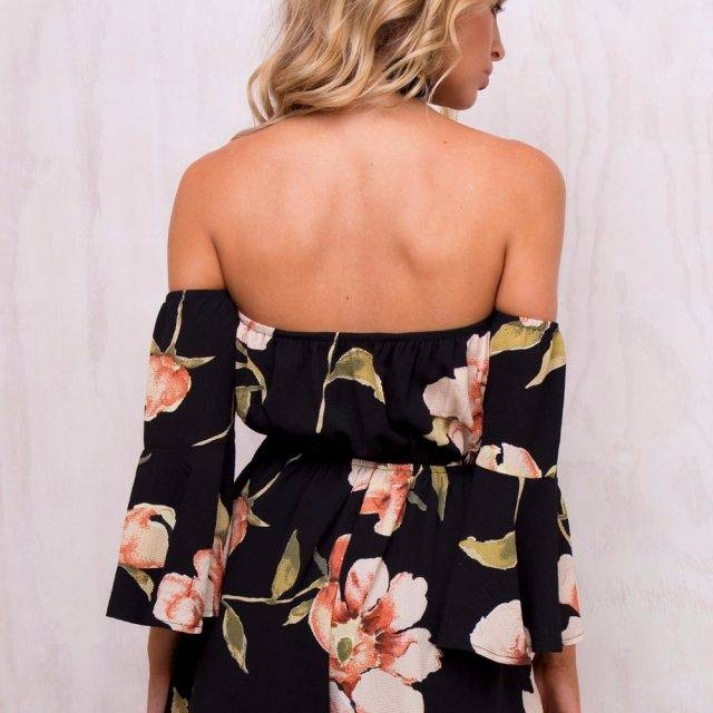 Backless Women's Jumpsuit with Floral Print Boho Rompers, Jumpsuits & overalls