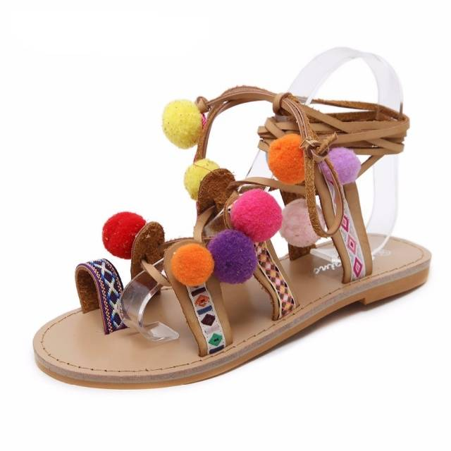 Pom-pom Brown Gladiator Sandals Boho Shoes & Sandals