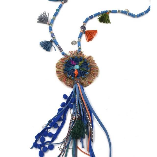 Beads & Leather Tassel Long Fringe Necklace
