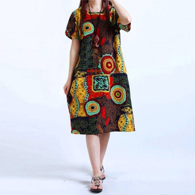 Bohemian Black Baggy Dress