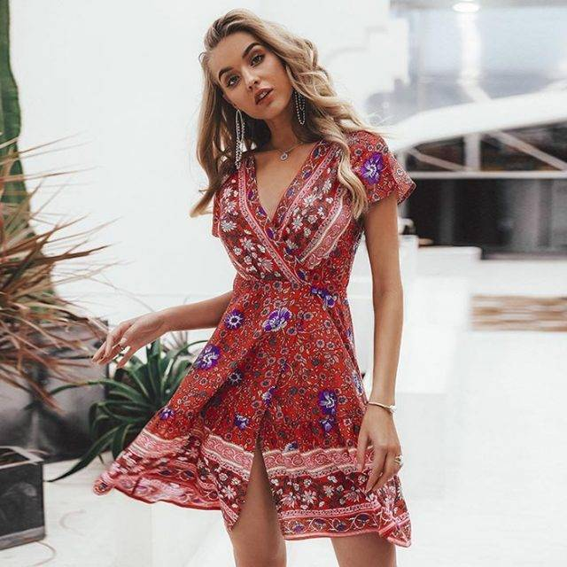 Boho Floral Printed Mini Dress