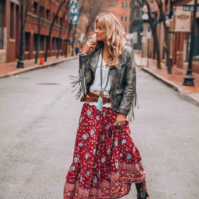 Boho-chic Floral Print, Tassel Tied Maxi Skirt