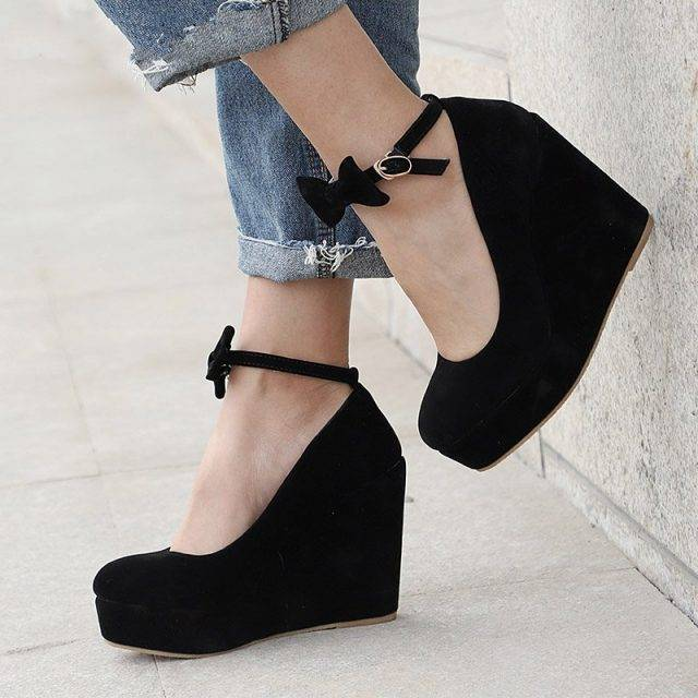 Closed Toe Wedges with Ankle Strap Boho Shoes & Sandals