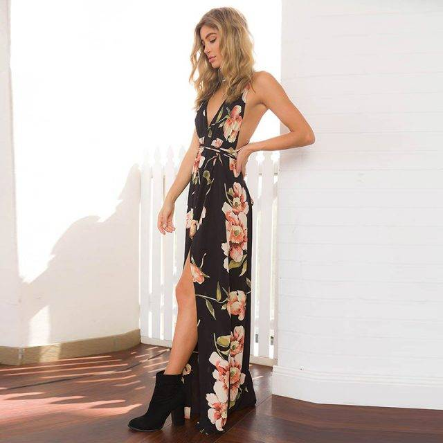 Deep V-neck Black Boho Maxi Dress