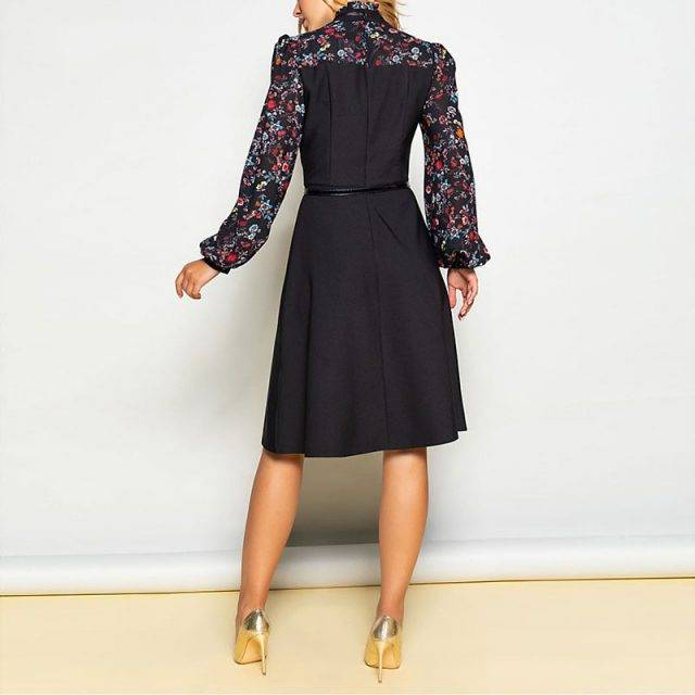 Elegant Flower Print A-line Midi Dress