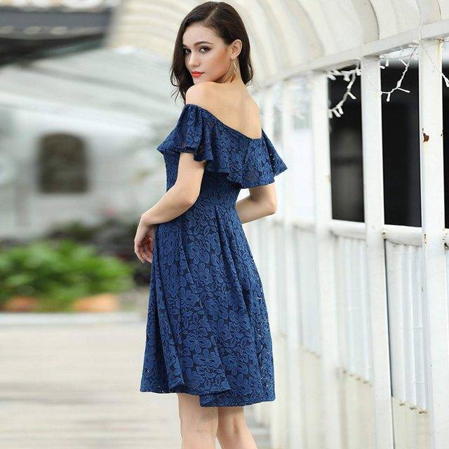 Floral Lace Off Shoulder Boho Mini Dress Boho Dresses Boho mini dresses Floral Dresses Lace Dresses