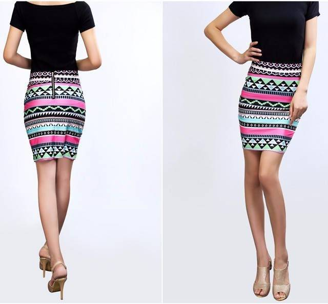 Geometric Aztec Pattern Bodycon Pencil Skirt