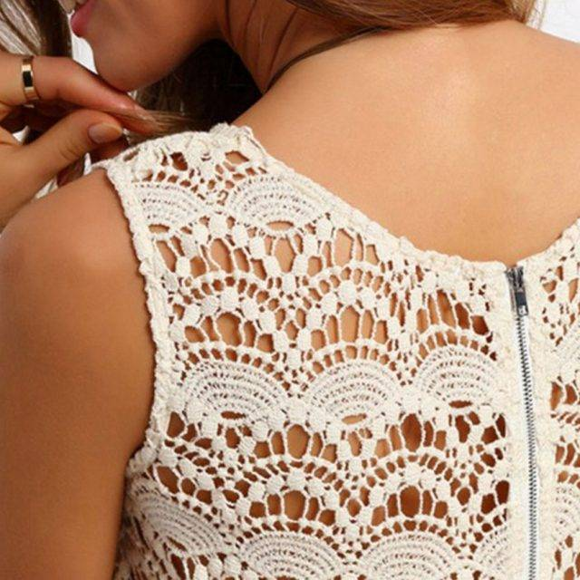 Geometric Boho Lace Mini Dress