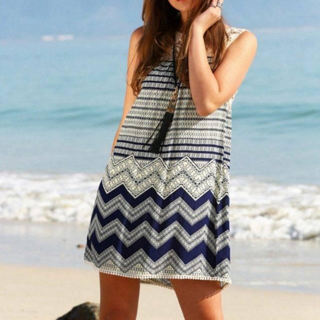 Geometric Boho Lace Mini Dress