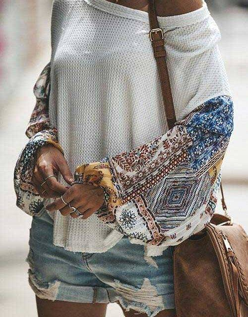 Round Neck Bohemian Pullover Knitted Sweater Boho Tops Shirts & Blouses
