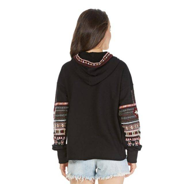 Sequined Boho Hoodie with Embroidered Geometric patterns & Tassels