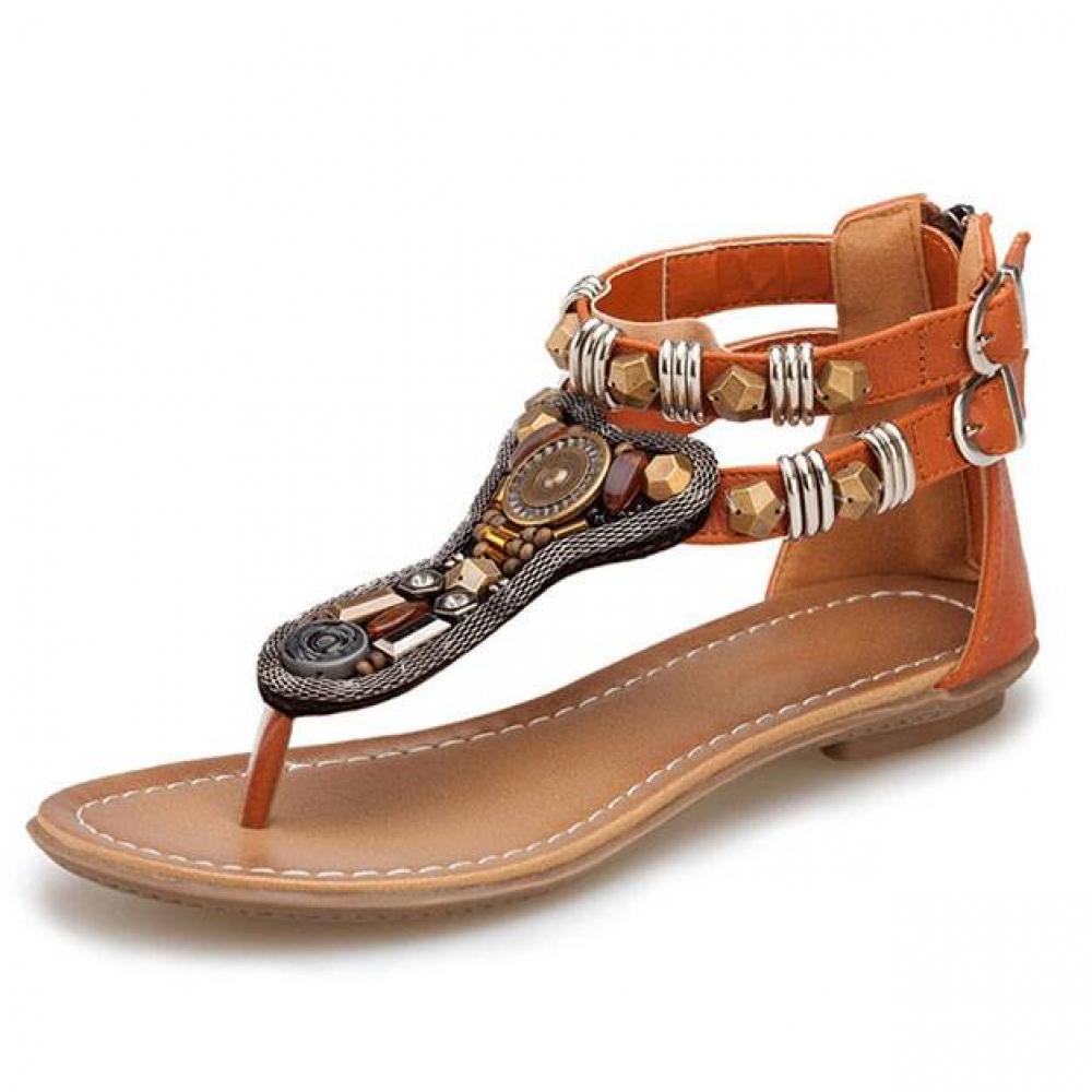 Bohemian Flat Sandals Boho Shoes & Sandals Color : Black|Brown