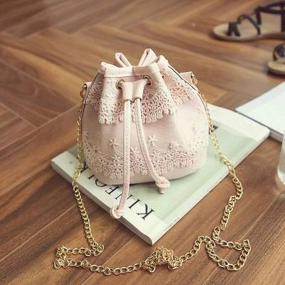 Boho Lace Drawstring Bucket Bag