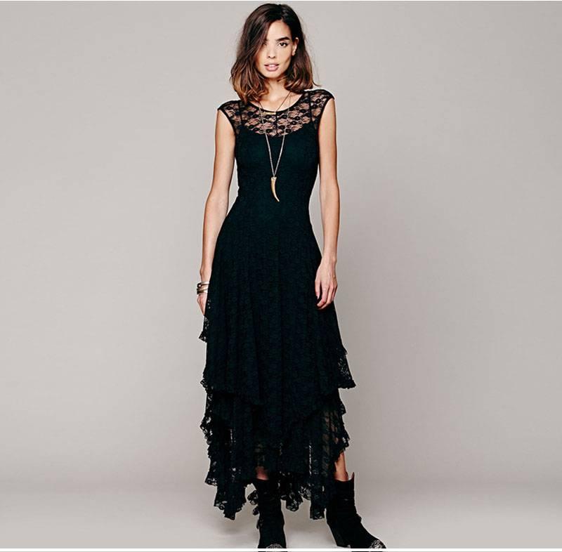 Boho style dresses, Ruffle Maxi Dress black