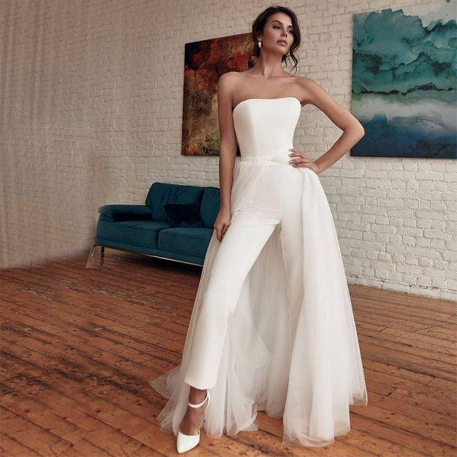 Fierce Tube Top Bridal Jumpsuit With Detachable Train Bridal Wedding Jumpsuits Color : White|Ivory|Champagne