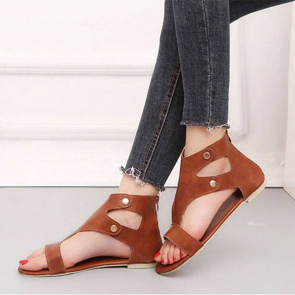 Flat Women's Roman Sandals Boho Shoes & Sandals Color : Black Red Brown Yellow Brown