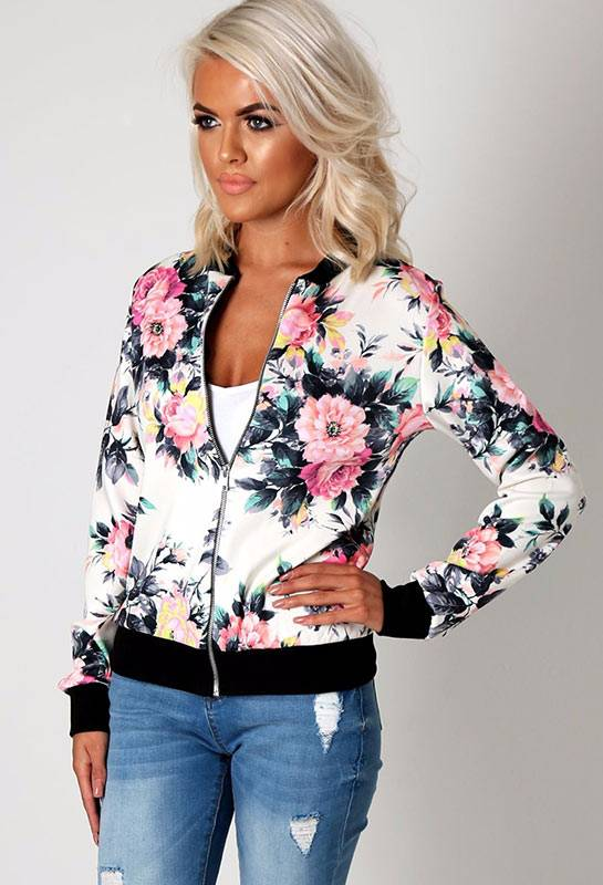 Boho clothing, Floral Printed Bomber Jacket