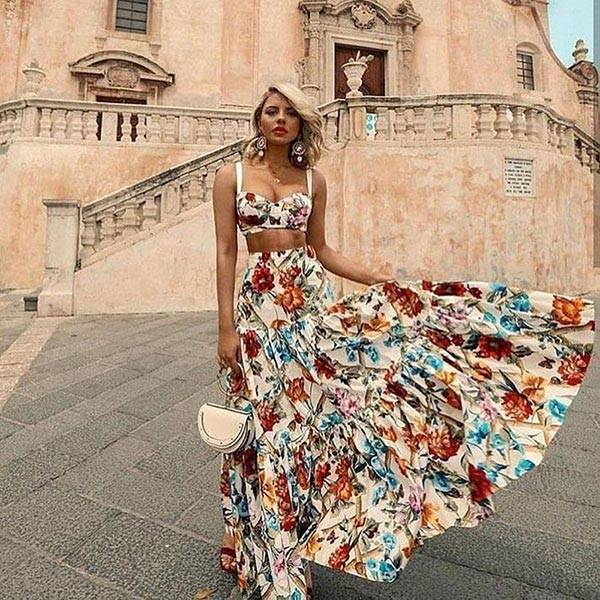 Floral Two Piece Summer Dress