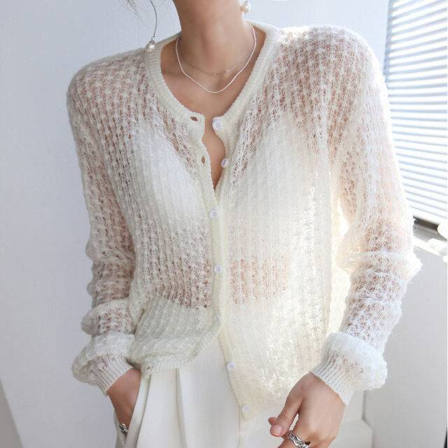 Knitted Hollow Out Summer Cardigan Boho Tops Cardigans, Coats & Jackets Size : One Size