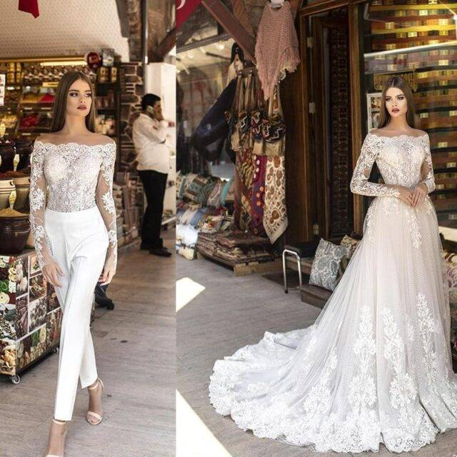 Lace Wedding Dress with Detachable Skirt Bridal Wedding Jumpsuits Boho Rompers, Jumpsuits & overalls Color : White|Ivory|Champagne