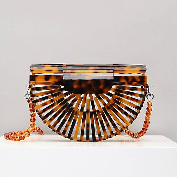 Luxury Acrylic Clutch Bag Bags & Purses Boho Jewelry & Accessories Color: Coffee with Beads Strap