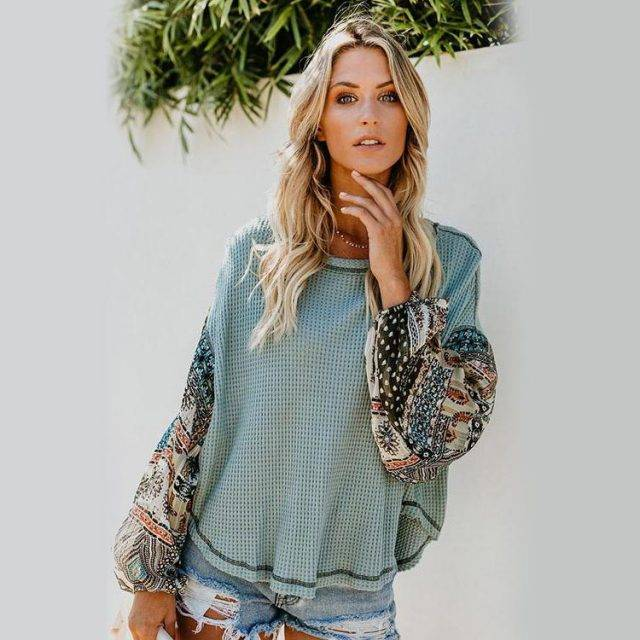 Round Neck Bohemian Pullover Knitted Sweater Shirts, Blouses & Bodysuits Boho Tops Size : S|M|L|XL