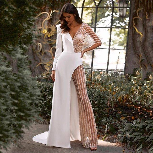 Illusion Tulle Striped Wedding Jumpsuit Bridal Wedding Jumpsuits Main Color : White|Ivory|Champagne|Beige