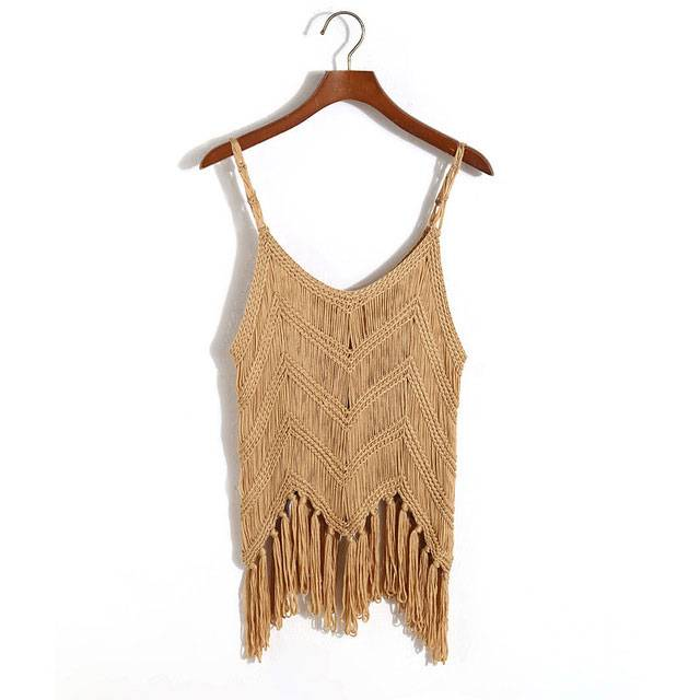 Sexy Knitted Boho Top with Tassels Boho Tops