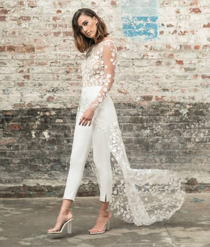 Boho White Lace Wedding Jumpsuit Bridal Wedding Jumpsuits Color : White|Ivory|Champagne