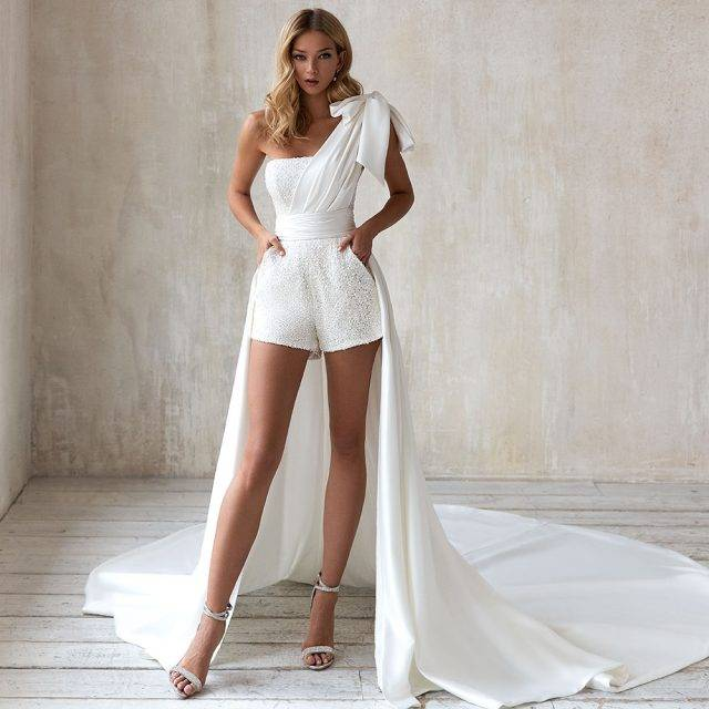 Short Sparkly Bridal Jumpsuit with Train Bridal Wedding Jumpsuits Color : White|Ivory