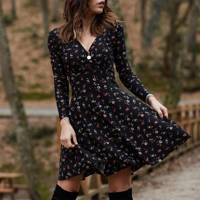 Floral Boho Black Mini Dress with Long Sleeves Boho mini dresses Boho Dresses Floral Dresses Color: BLACK Size: S M L XL