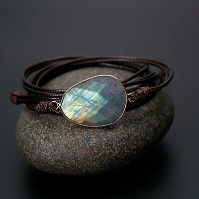 Tiger Eye Blue Labradorite Bracelet Bracelets Boho Jewelry & Accessories Metal Color : Dark Brown|Tan|Black