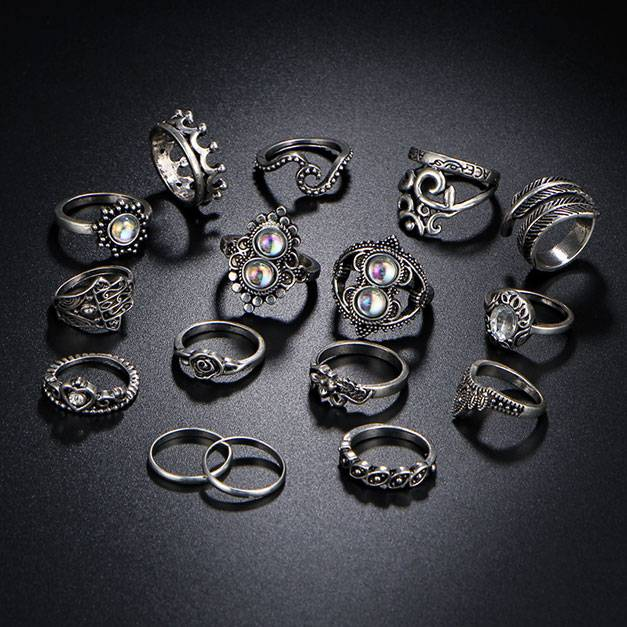 Vintage Women`s Boho Style Ring Set Boho Jewelry & Accessories Rings