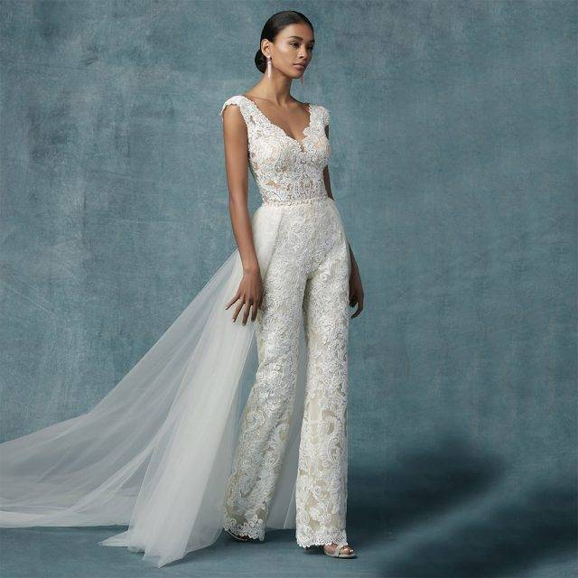 Appliqued Lace Wedding Jumpsuit for the Bride Bridal Wedding Jumpsuits Color : White|Ivory|Champagne