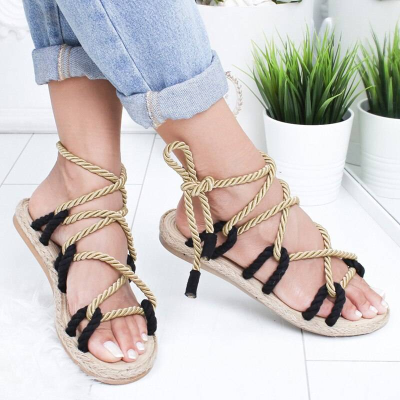 Hemp Rope Lace Up Gladiator Sandals from Boho Fashion Boutique